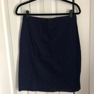 J. Crew navy embroidered flower pencil skirt - 6
